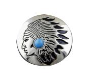 Screw Eye - Steel Turquoise Tribal Metal Round Concho Biker Vintage Decorative Button Screw Back