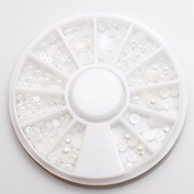 White Pearl semi-4 size MIX 1.5mm 2mm 2.5mm 3mm 3.5mm 4mm round case input gel nail deco parts resin powder trading