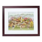 Orimupasu cross stitch embroidery kit Four Seasons Cotswolds fall off-white 7176