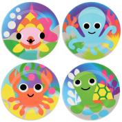 French Bull - BPA Free Children's Dinner Set - 20cm Melamine Kids Plate Set - Ocean, Set of 4