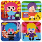 French Bull - BPA Free Children's Dinner Set - 20cm Melamine Kids Plate Set - Rock Star, Set of 4