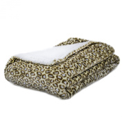 Super Soft Baby Blankets with Sherpa Reverse- Leopard Prints-Blue Spots