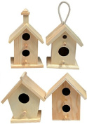 Creative Hobbies® Mini 10cm Tall Birdhouse, Set of 4 Styles, Unfinished Wood Ready to Paint or Decorate