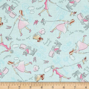 """1/2 Yard - """"Walk the Dog"""" Pink Ladies & Bulldogs on Blue Cotton Fabric (Great for Quilting, Sewing, Craft Projects, Quilt, Throw Pillows, Dog Bandana & More) 1/2 Yard X 110cm"""