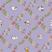 Cat Fabric - Cats in the Garden - Floral Diamonds - Purple - 100% Cotton - By the Yard