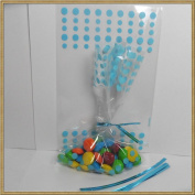 100pcs 4x 6 polka dot cello bags + 100 matched twist ties for party gift packing