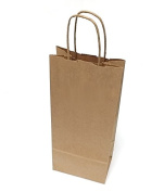 [ Total 50 ct ] Natural Kraft Paper Wine Bags 13cm x 7.6cm x 33cm (made with 100% recyclable and reusable fibre)