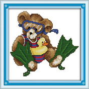 Joy Sunday® Cross Stitch Kit 14CT Stamped Embroidery Kits Precise Printed Needlework-August bear 23×23CM