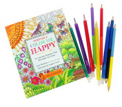 Colour Me Happy Colouring Kit; Includes 70 Templates to Colour, 5 Twistable Crayons and 4 Double-sided Coloured Pencils