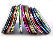 Baomabao 30Pcs Mixed Colours Rolls Striping Tape Line Nail Art Tips Decoration Sticker