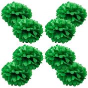 WYZworks Set of 8 - GREEN 30cm - (8 Pack) Paper Tissue Pom Poms Flower Party Decorations with 20cm , 25cm , 36cm , 41cm option