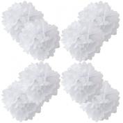 WYZworks Set of 8 - WHITE 36cm - (8 Pack) Paper Tissue Pom Poms Flower Party Decorations with 20cm , 25cm , 30cm , 41cm option