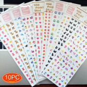 Elesa Miracle 10 Sheets Girl Mini Diary Album Sticker, Children Craft Scrapbooking Sticker Value Set, Girl Nail Stickers, More than 1000 mini stickers