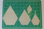 Jewel Quilting Template Set, 10cm , 7.6cm , 5.1cm , 2.5cm with 0.6cm Seam Allowance