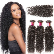 Unice Hair 6a Brazilian Virgin Curly Hair with Free Part Lace Closure Unprocessed Virgin Brazilian Human Hair Extensions Natural Colour