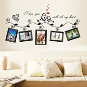 Birds Photo Frames English Letters Wall Decal PVC Home Sticker House Vinyl Paper Decoration WallPaper Living Room Bedroom Kitchen Art Picture DIY Murals Girls Boys kids Nursery Baby Playroom Decor