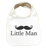 "RoyalT Wardrobe ""Little Man"" 100% Cotton White Baby Bib black text"