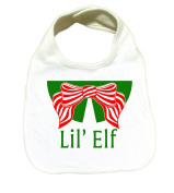 "RoyalT Wardrobe ""Lil Elf"" 100% Cotton White Baby Bib green and red text"