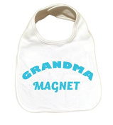 "RoyalT Wardrobe ""Grandma Magnet"" 100% Cotton White Baby Bib blue text"