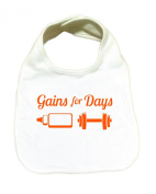 "RoyalT Wardrobe ""Gains For Days"" 100% Cotton White Baby Bib orange text"