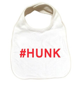 "RoyalT Wardrobe ""# Hunk"" 100% Cotton White Baby Bib red text"