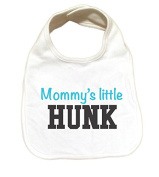 "RoyalT Wardrobe ""Mommy's Hunk"" 100% Cotton White Baby Bib blue text"