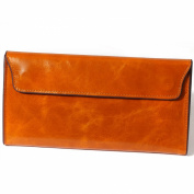 H & J Women's Oil Wax Leather Wallet Bifold Smartphone Detachable Card Holder