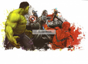 Marvel Avengers Assemble Group Hulk Iron Man Captain America Thor Battle Ultron Removable Wall Decal Sticker Home Decor 22cm wide x 13cm tall