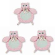 Bearington Baby Lil' Hoots Owl Collection Wee Blanket Security Blankie Set of 3