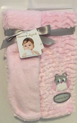 Blankets & Beyond Reversible Pink Blanket with Owl Applique