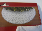 120cm Christmas Tree Glitter Skirt - White with Silver Snowflakes