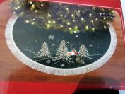 120cm Velvet Embroidered Green with Trees Christmas Tree Skirt
