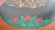 Poinsettia Embroidered & Appliqued 120cm Christmas Tree Skirt