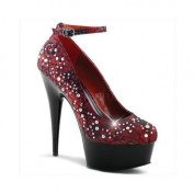 Women's Pleaser Delight 686LC Burgundy Satin/Lace/Black