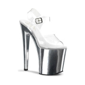 Women's Pleaser Xtreme 808 Clear/Silver Chrome