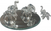Hand Blown Glass Elephant Family Figurines |Miniature Glass Animals & Bonus Display Mirror | Made in America by Flame Art Glass, Clear