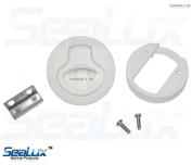 SeaLux 5.1cm Plastic White Hatch Flush Pull Slam Latch for marine boat and RV