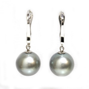 Tahitian Pearl Elegance Dangle Earrings 11mm Light Grey AAA Quality 14kt White Gold