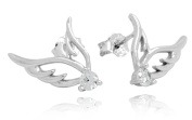 Sterling Silver Rhodium Plated Cubic Zirconia Wing Stud Earrings