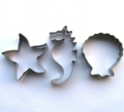 LAWMAN Ocean creature sea horse starfish shell fondant pastry baking cookie cutter 3pcs set