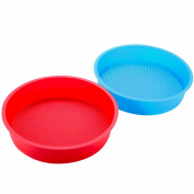 20cm Premium-grade Silicone Round Non-stick Cake Mould, Set of 2
