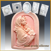 Mother & Baby in Arch - Detail of High Relief Sculpture - Silicone Soap/sugar/fondant/chocolate/marzipan 2d Mould