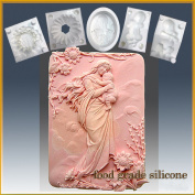 Mother in Heavenly Garden - Detail of High Relief Sculpture - Silicone Soap/sugar/fondant/chocolate/marzipan 2d Mould