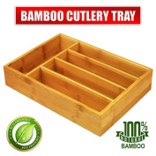 Bamboo Cutlery-Knives-Tools Tray 5-Compartment by Utopia Kitchen