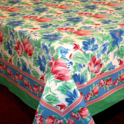 Handmade Vibrant Floral Brush Stroke Print 100% Cotton Tablecloth Green Blue 60x60 Square