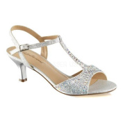 Women's Fabulicious Audrey 05 T-Strap Sandal Silver Shimmering Fabric