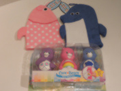 Care Bear Figures bathtub squirters with Pink and Blue Bath hand puppet scrubbers