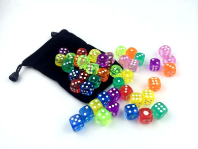 48 Translucent Coloured Dice Set   6 x 8 Different Colours From Visual Elite Bringing Fun to a Game or Learning Math Set Contains Green,Yellow, Orange, Pink, Blue, Red, Purple,and Pale gree (16mm)