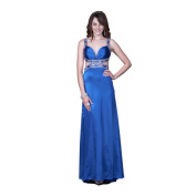 Women's Blue Satin U-back Gown with Beaded Straps