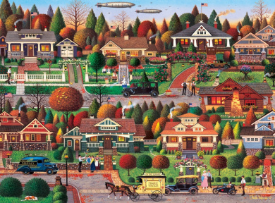 Buffalo Games Labour Day in Bungalow Ville by Charles Wysocki Jigsaw Puzzle (1000 Piece)